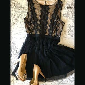 Eyelash Lace and Pleat Dress